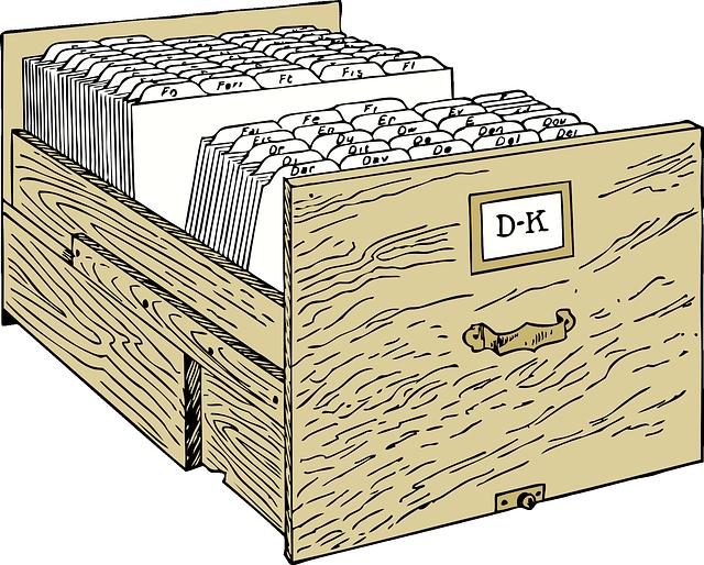 dřevený šuplík kartotéky